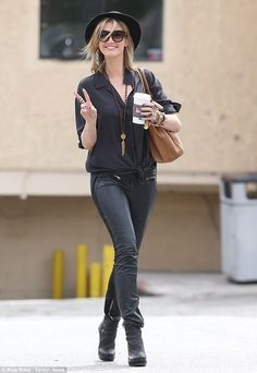 Even a coffee run requires a rock star ensemble! Delta shows off a new look while out in Santa Monica Biker Chick Outfit, Rock Star Outfit, Model Street Style, Bohemian Look, Other Outfits, Hats For Women, Everyday Fashion, Latest Fashion Trends, Black And Brown