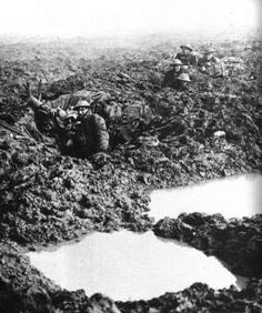 Men of the 16th Canadian Machine Gun Company in reserve positions October 1917. The soldier in the foreground is Reginald Le Brun who wrote about his experiences of Passchendaele. He would be the only person to survive out of this gun team of 5 men.