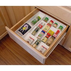 Store round and square spice containers next to the stove for convenience while cooking, food prepping or baking in this Drawer Organizer Spice Rack. The expanding side panels adjust from to and fits up to 36 containers. Kitchen Drawer Organization, Spice Organization, Diy Kitchen Storage, Kitchen Drawers, Organizing, Household Organization, Spice Rack Organiser, Spice Storage, Spice Rack White