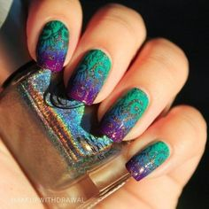 #nails #green #polish #nailart - bellashoot.com