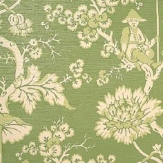 Scalamandre Parapluie Ivory, Green On Pearl Grass Wallpaper