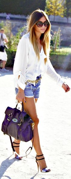 White loose shirt, jean shorts, purple hand bag and high heels