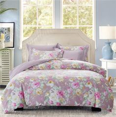 Bouquet Purple Bedding Set Teen Bedding Dorm Bedding Bedding Collection Gift Idea Teen Bedding, Modern Bedding, Purple Bedding Sets, Pillow Shams, Pillows, Rounded Rectangle, Flat Sheets, Floral Style, Bedding Collections