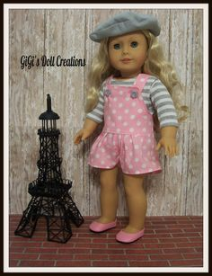 Romper/Shortalls with shirt and Beret fits by GiGisDollCreations. Made with the Drop Waisted Shortalls pattern, found here http://www.pixiefaire.com/products/summer-camp-collection-drop-waisted-shortalls-18-doll-clothes.  #pixiefaire #dropwaistedshortalls