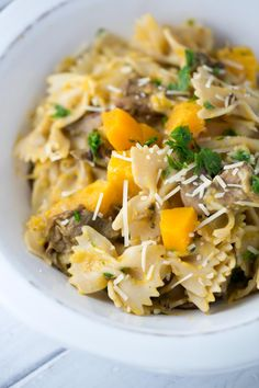 Creamy butternut squash mushroom farfalle pasta is a healthy dish packed with vegetables. Tender pasta is tossed with porcini mushrooms and Parmesan cheese.