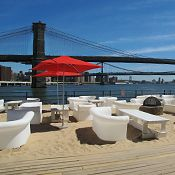 Drinking in the sun:    Beekman Beer Garden Beach Club - South Street Seaport  Hotel Americano: 518 W 27th St (10 & 11 Ave)