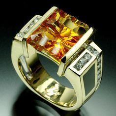 Citrine and diamonds on gold Mens Gold Rings, Rings For Men, Jewelry Rings, Women's Rings, Jewellery, Mens Ring Designs, Gents Ring, Classic Wedding Rings, Modern Jewelry