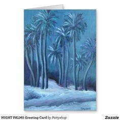 NIGHT PALMS Greeting Card