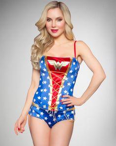 Wonder Woman Satin Lace-Up Corset Set