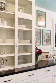 Painted beadboard ceiling, wallpapered cabinet, backsplash. via House of Turquoise: Charmean Neithart Interiors