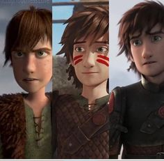 Hiccup at ages 15, 18, and 20.