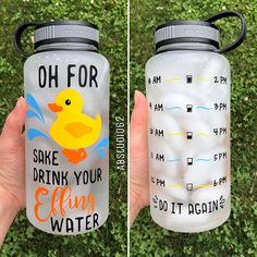 Motivational Water Bottle Water Intake Tracker Exercise Water Bottle Work Out Bottle Personalized Bottle Duck Sake Water Bottle Water Intake Tracker, Water Bottle Workout, Cute Water Bottles, Food Storage Boxes, Woodland Nursery Decor, Used Vinyl, Tumbler Cups, Vinyl Projects, Swagg
