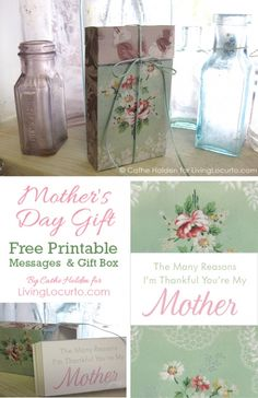 Mother's Day DIY Gift Idea! Free Printable Gift Box Tutorial with Messages. LivingLocurto.com