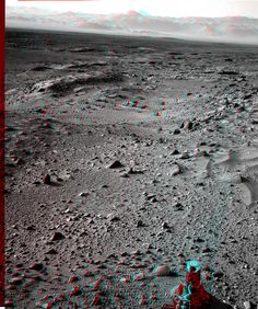 """NASA Curiosity sol 429 NavCam anaglyph craters in the crater! Get your 3D glasses, it seems to be there! - """"Courtesy NASA/JPL-Caltech."""" processing 2di7 & titanio44"""