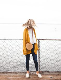 Woven Drum Bag - Leather Strap Mustard Cardigan Outfit 8424543ad88e1
