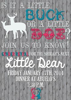 Country Rustic Gender Reveal Invitation by ChevronDreams on Etsy, $10.00