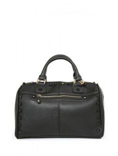 Stud Love Handbag: Faux leather handbag featuring stud accents throughout. Two handles, one optional shoulder strap, and one zipper pocket on the outside. One zipper pocket and two open pockets on the inside. Lined. Lightweight $28.99