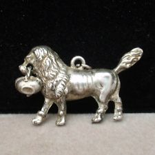 Poodle with Basket Charm Vintage Sterling Silver Lion