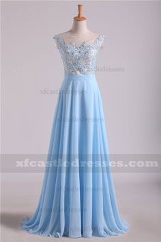 Blue Lace Long Prom Dresses with High Neck Prom Dresses Blue, Formal Dresses, Lace Bodice, Blue Fabric, Blue Lace, Yellow Dress, Evening Dresses, Chiffon, Style