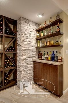 And, a stone or very chunky wood pillar (in an open bar area w/ only a pony wall).  What about hanging an upper cabinet on a chunky pillar?  (or surrounding it?)