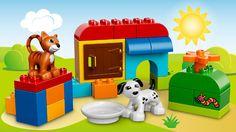 LEGO® DUPLO® - Starter Steinebox  Die LEGO® DUPLO® Starter Steinebox mit Hund, Katze und verschiedenen DUPLO Steinen, bedruckten Elementen und der LEGO Aufbewahrungsbox bietet endlosen Spiel- und Bauspaß.