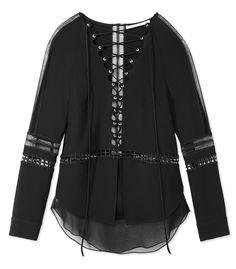 Jonathan Simkhai Black Crossbar Lace-Up Tunic
