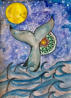 Whale art, mandala art, whale tale art, whale tale illustration, constellation art, full moon, universe watercolour, by Nativesoulart on Etsy Constellation Art, Constellations, Whale Art, Surfboard Art, Soul Art, Sully, Mini Tattoos, Mandala Art, Watercolour Painting