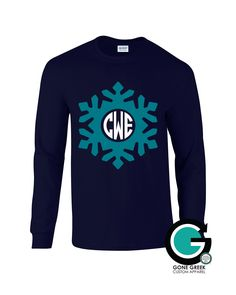 SALE! Navy Snowflake Printed Shirt with Monogram or Greek Letters (Sorority or Fraternity) -- Great for the Winter Season! by GoneGreek on Etsy