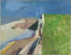 """Seawall"""" shows Richard Diebenkorn layering multiple shades of blue and channeling Mark Rothko in its expansive field of green. A new show at the de Young Museum, """"Richard Diebenkorn: The Berkeley Years, opens June Richard Diebenkorn, Abstract Landscape, Landscape Paintings, Abstract Art, Bay Area Figurative Movement, Tachisme, Robert Motherwell, Jasper Johns, Royal Academy Of Arts"""