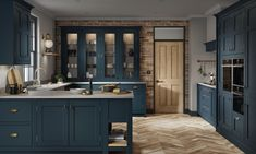 Clarendon Hartforth Blue Kitchen Second Nature Collection Shaker Blue Shaker Kitchen, Shaker Style Kitchens, Home Kitchens, Hampshire, Dark Blue Kitchens, Modern Country Kitchens, Blue Country Kitchen, Navy Kitchen, Classic Kitchen