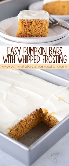 Fluffy and moist and SO easy to make, these delicious pumpkin bars are the perfect fall treat, and that amazing whipped cream cheese frosting is quite literally the icing on the cake.