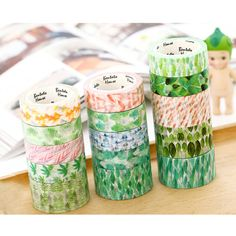 Watercolor Leaves Washi Tape Masking Paper Adhesive Roll Decorative Card Craft #Unbranded