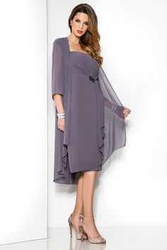 Cheap Straps Knee Length Grey Chiffon Sheath Column Mother Of The Bride Dress With Jacket B2cp0012