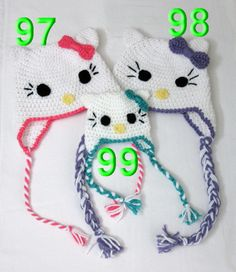 Hello Kitty Cat Hat Pattern - Crochet Pattern Number 13 - Beanie and Earflap Pattern (US or UK Terms) - Newborn to Adult Sizes Included Crochet Baby Hats, Crochet Beanie, Crochet For Kids, Baby Knitting, Knitted Hats, Knit Crochet, Earflap Beanie, Free Crochet, Crochet Crafts