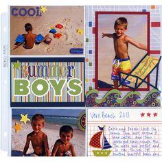 beach scrapbooking layout ideas | Ideas » Scrapbook Layouts » Beach Pocket Summer Boys Layout