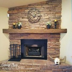 Provide the best and essential addition to your construction application with this American Pro Decor Pecan Riverwood Faux Wood Beam Fireplace Mantel. Rustic Fireplace Mantels, Stacked Stone Fireplaces, Wood Mantels, Rock Fireplaces, Home Fireplace, Fireplace Remodel, Fireplace Ideas, Fireplace Decorations, Mantel Ideas