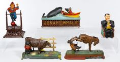 """Lot 463: Reproduction Cast Iron Mechanical Bank Assortment; Five reproduction banks from the """"Book of Knowledge"""" collection including Tammany Hall and Jonah and the Whale"""
