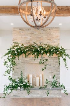 Elora Mill Altar piece (maybe add in some pale pink or peach? Should be able to be transitioned to a head table arrangement. Wedding Fireplace Decorations, Wedding Mantle, Reception Decorations, Event Decor, Flower Decorations, Rustic Wedding, Wedding Ideas, Wedding Flower Arrangements, Wedding Centerpieces