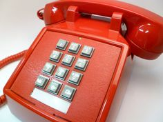 Vintage Cherry Red Push Button Phone on Etsy, $25.00