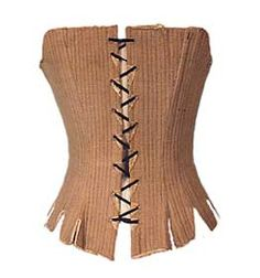 Leather also reinforced the 8 pair of eyelet holes from the tension of the laces. The center 6 eyelet pairs are offset, allowing the stays to be laced up the back in a single lace, spiral fashion. The tabs at the bottom of the stays would have adjusted to the shape of the hips and allowed for movement while the rest of the upper body was firmly corsetted.