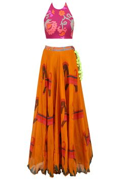 Anupamaa Dayal Pink floral printed crop top and orange skirt set available only at Pernia's Pop Up Shop. Western Dresses, Western Outfits, Crop Top And Shorts, Crop Tops, Choli Dress, Orange Skirt, Fashion Sites, Indian Ethnic Wear, Lace Tops