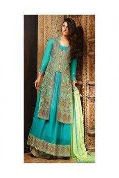 Stand out gorgeous this Eid wearing this royal Turquoise coloured Pakistani lawn suit made of chiffon. #pakistanilawnsuitforwomen #womensethnicwear #lawnsuitsforwomen #womensfashion https://trendybharat.com/women/ethnics-wear/women-ethnic-wear-pakistani-lawn-suits/turquoise-chiffon-salwar-suit-set-ma0193