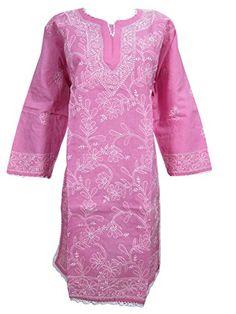 "Indian Tunic Dress Pink Floral Embroidered Cotton Long Kurta Caftan (Chest: 46"") Mogul Interior http://www.amazon.com/dp/B00RJS6LVS/ref=cm_sw_r_pi_dp_wlfyvb1PMEDH1"