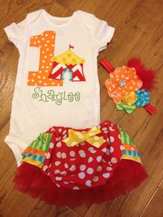 Circus theme girly carnival birthday girl ruffle butt outfit