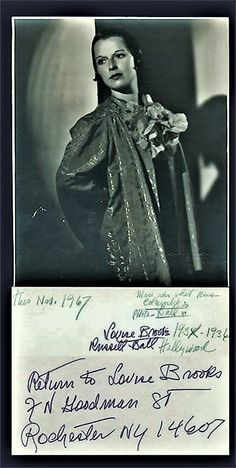 Louise Brooks Photo with Louise's return address in Rochester NY. (1936)