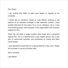 A Template Of A Character Reference Letter On Behalf Of A Coworker
