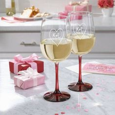 Personalized Carved Heart Colored Stemware, Clear