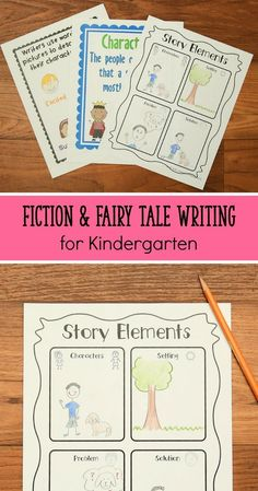 My Kindergarten kiddos really enjoyed our fiction and fairy tale writing unit. As a class, we came up with a wild fairytale, and I showed them how to brainstorm each story element before writing. Then, they wrote their own tales using the same process. Kindergarten Lessons, Kindergarten Writing, Teaching Writing, Writing Activities, Preschool Activities, Teaching Resources, Teaching Ideas, Persuasive Writing, Fiction Writing