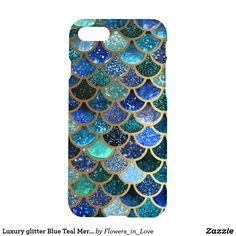 Luxury glitter Blue Teal Mermaid scales iPhone 8/7 Case  #mermaid #technology #phonecase, #mermaid #case,#mermaid #iphone, #mermaid #samsung, #society6 #shopping #zazzle #onlineshopping #buyart #art #glamour #sparkle #girly #trendy #mermaidscales, #mermaid #scales #utart #betterhome