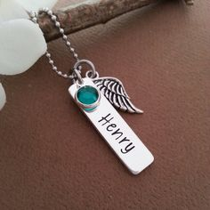 Personalized Necklace With Angel Wing Charm and Crystal Birthstone | Baby Loss Necklace | Angel Baby Necklace